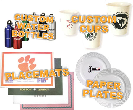 Custom Water Bottles, Custom Printed Cups, Personalized Paper Placemats, Paper Plates